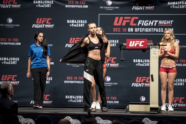 Rose Namajunsa prepares to weigh in for UFC Fight Night at the MGM Grand Garden Arena in Las Vegas on Wednesday, Dec. 9, 2015. Joshua Dahl/Las Vegas Review-Journal