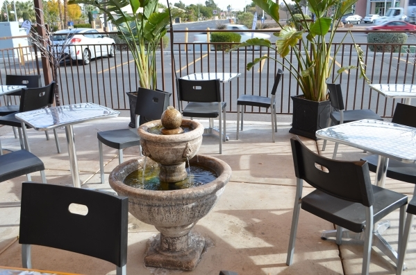 A fountain bubbles on the outdoor patio at Chickpeas Mediterranean Cafe, 6110 W. Flamingo Road. Ginger Meurer/Special to View