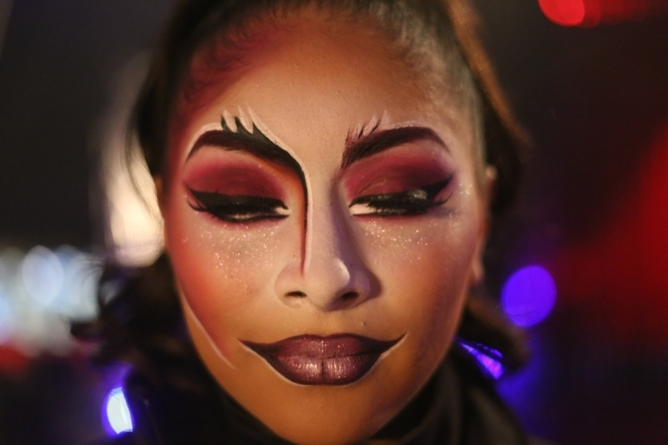 Celeste Rivera poses to show her makeup at Circus Vargas at the Meadows Mall parking lot in Las Vegas Thursday, Dec. 11, 2015. Rachel Aston/Las Vegas Review-Journal Follow@rookie__rae