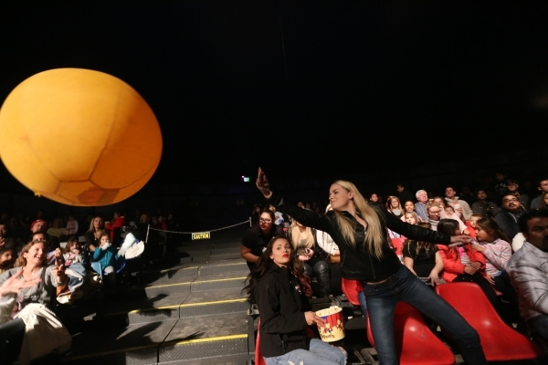 Kasondra Daves tries to hit a ball during the opening night of Circus Vargas at the Meadows Mall parking lot in Las Vegas Thursday, Dec. 11, 2015. Rachel Aston/Las Vegas Review-Journal Follow@rook ...