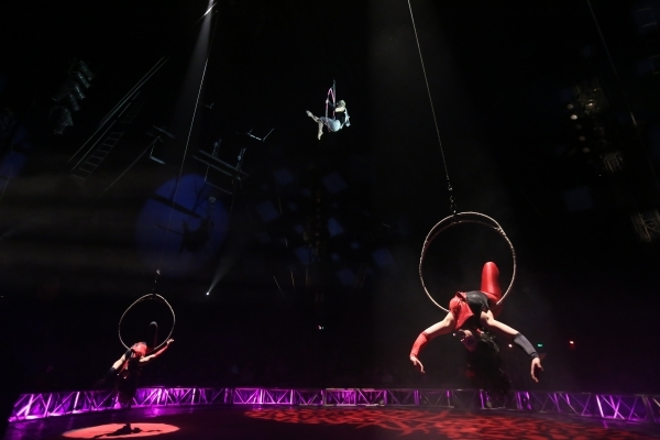 "The ""Aerial Angels"" perform during the opening night for Circus Vargas at the Meadows Mall parking lot in Las Vegas Thursday, Dec. 11, 2015. Rachel Aston/Las Vegas Review-Journal Follow@ ..."