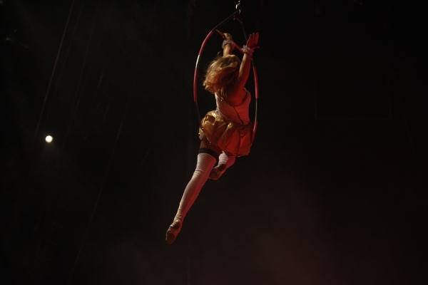 Cathy Poema performs on an aerial hoop during the opening night for Circus Vargas at the Meadows Mall parking lot in Las Vegas Thursday, Dec. 11, 2015. Rachel Aston/Las Vegas Review-Journal Follow ...
