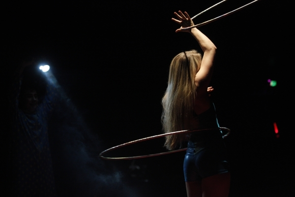 A performer hula hoops during the opening night for Circus Vargas at the Meadows Mall parking lot in Las Vegas Thursday, Dec. 11, 2015. Rachel Aston/Las Vegas Review-Journal Follow@rookie__rae