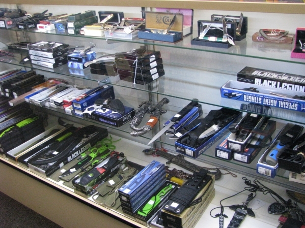 The Right Edge at Fantastic Indoor Swap Meet 1717 S. Decatur Blvd. carries a wide variety of decorative weapons and self defense options that might be just the right gift for someone. (F. Andrew T ...