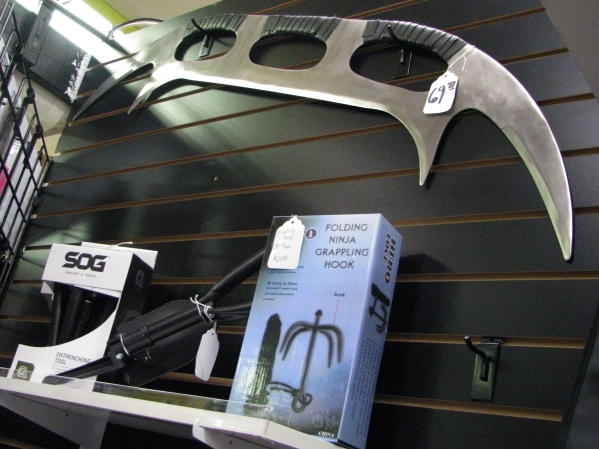 The Right Edge at Fantastic Indoor Swap Meet 1717 S. Decatur Blvd. carries a wide variety of decorative weapons and self defense options that might be just the right gift for someone including gra ...