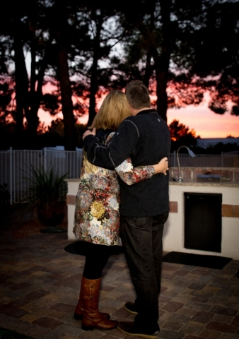 Newlyweds Terry Fator and Angie Fiore watch the sunset from their outdoor pool area.   TONYA HARVEY/REAL ESTATE MILLIONS