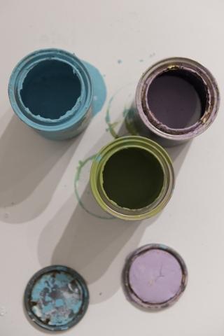 Paint cans at P3 Studio in The Cosmopolitan of Las Vegas are seen Wednesday, Dec. 9, 2015. Jason Ogulnik/Las Vegas Review-Journal