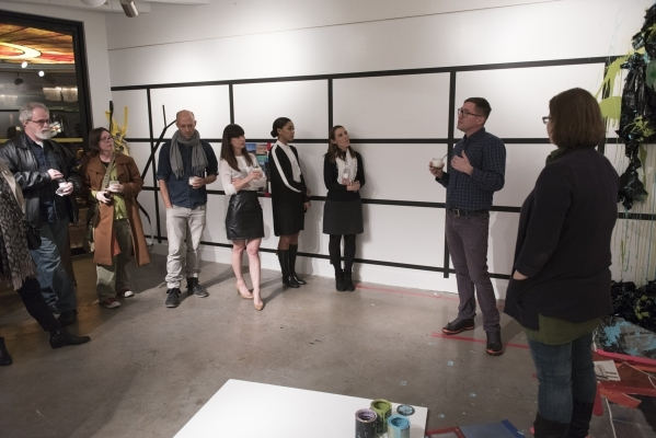 Artists Kate Gilmore, from right, and Franklin Evans answer questions at P3 Studio in The Cosmopolitan of Las Vegas in Las Vegas Wednesday, Dec. 9, 2015. Jason Ogulnik/Las Vegas Review-Journal