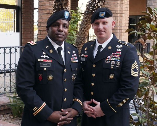 Lt. Col. Derwin Brown and Master Sgt. George Palmer pose for a photo at the Las Vegas Review-Journal, Thursday, Dec. 10, 2015. (Jerry Henkel/Las Vegas Review-Journal)