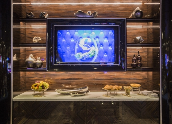 A wall unit  stocked with complimentary snacks is seen Tuesday, Dec. 22, 2015 in the new high limit room at The Cosmopolitan of Las Vegas, 3708 S Las Vegas Boulevard. Jeff Scheid/ Las Vegas Review ...