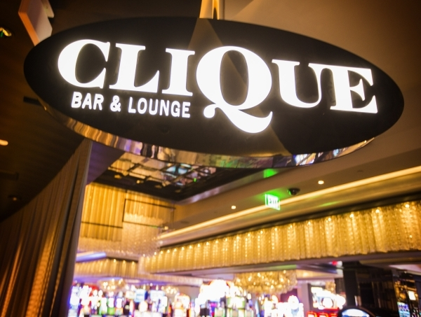 The sign for Clique, the newest lounge at The Cosmopolitan of Las Vegas, 3708 S. Las Vegas Boulevard, is seen  on Tuesday, Dec. 22, 2015. Jeff Scheid/ Las Vegas Review-Journal Follow @jlscheid