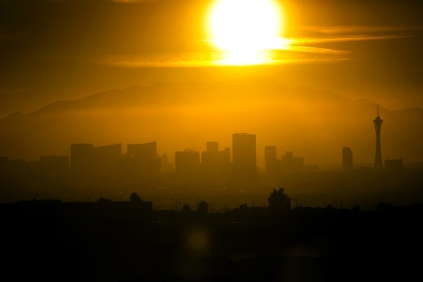 A view of sun begin to set behind Las Vegas Strip is seen from Shadow Rock Park on Friday, Dec. 18, 2015. Friday was the shortest day of the year. Jeff Scheid/ Las Vegas Review-Journal Follow @jls ...