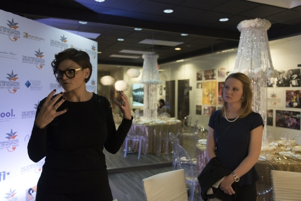 Instructor Brit Bertino, left, and Sarah Wandall give a tour of the Special Events Design Lab at The International School of Hospitality in Las Vegas Wednesday, Dec. 9, 2015. Jason Ogulnik/Las Veg ...