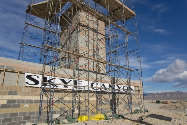 The sign for the Skye Canyon master-planned community stands just off U.S. Highway 95 at Skye Canyon Drive in northwest Las Vegas on Monday, Dec. 14, 2015. Daniel Clark/Las Vegas Review-Journal.