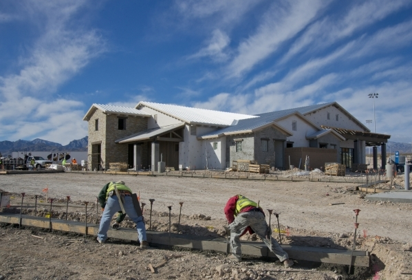 Work continues on a park inside the Skye Canyon master-planned community just off U.S. Highway 95 at Skye Canyon Drive in northwest Las Vegas on Monday, Dec. 14, 2015. Daniel Clark/Las Vegas Revie ...