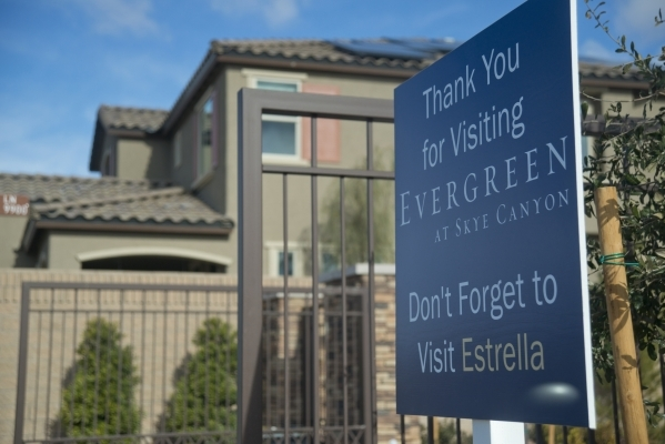 A sign is seen inside the Evergreen subdivision of the Skye Canyon master-planned community just off U.S. Highway 95 at Skye Canyon Drive in northwest Las Vegas on Monday, Dec. 14, 2015. Daniel Cl ...