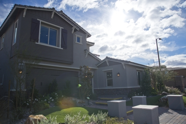 A model home is seen inside the Teton Cliffs subdivision of the Skye Canyon master-planned community just off U.S. Highway 95 at Skye Canyon Drive in northwest Las Vegas on Monday, Dec. 14, 2015.  ...