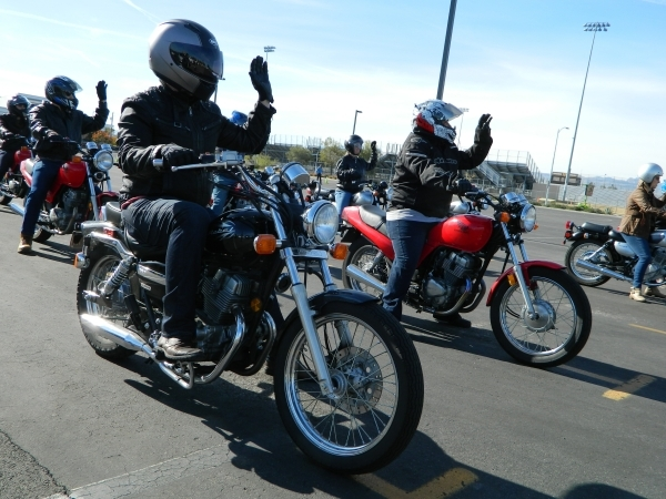 Students learn to ride motorcycles during a College of Southern Nevada Basic Rider I class Dec. 5 at the Charleston campus, 6375 W. Charleston Blvd. Cassandra Keenan/View