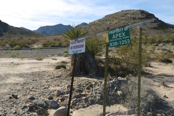 An sign prohibiting trespassing seen at the Apex Industrial Park north of Las Vegas on Wednesday, Nov. 18, 2015. Brett Le Blanc/Las Vegas Review-Journal Follow @bleblancphoto