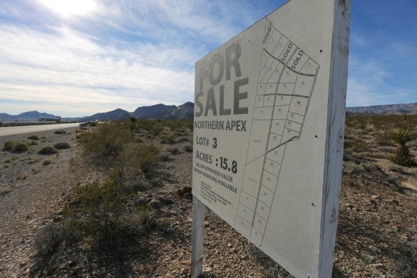 An advertisement for land is seen at the Apex Industrial Park north of Las Vegas on Wednesday, Nov. 18, 2015. Brett Le Blanc/Las Vegas Review-Journal Follow @bleblancphoto