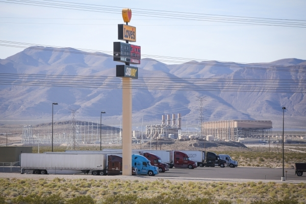 The Chuck Lenzie Generating Station, owned by NV Energy, Inc., is seen over Love's Travel Stop at the Apex Industrial Park north of Las Vegas on Wednesday, Nov. 18, 2015. Brett Le Blanc/Las  ...