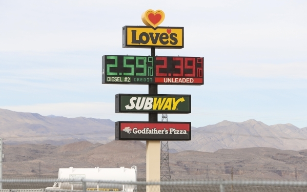 Love's Travel Stop sign is shown at 12501 Apex Great Basin Way on Thursday, Dec. 10, 2015, near the site where Chinese-backed electric carmaker Faraday Future plans to build a manufacturing  ...