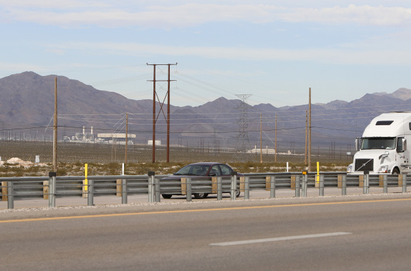 The site as seen from I-15 North on Thursday, Dec. 10, 2015, where Chinese-backed electric carmaker Faraday Future plans to build a manufacturing plant at I-15/Highway 93 North junction in North L ...