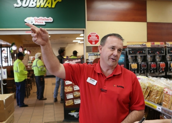 Love's Travel Stop manager Kevin Chupp speaks during an interview with Review-Journal at 12501 Apex Great Basin Way on Thursday, Dec. 10, 2015, near the site where Chinese-backed electric ca ...