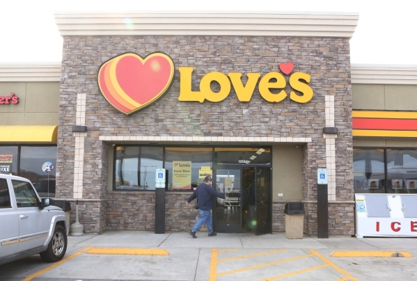 Love's Travel Stop is shown at 12501 Apex Great Basin Way on Thursday, Dec. 10, 2015, near the site where Chinese-backed electric carmaker Faraday Future plans to build a manufacturing plant ...