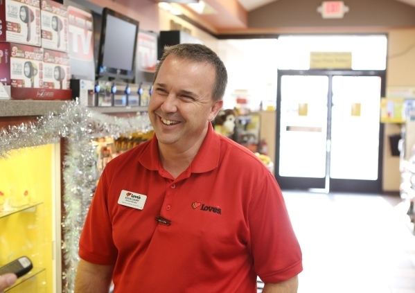 Love's Travel Stop manager Kevin Chupp smiles as he speaks during an interview with Review-Journal at 12501 Apex Great Basin Way on Thursday, Dec. 10, 2015, near the site where Chinese-backe ...