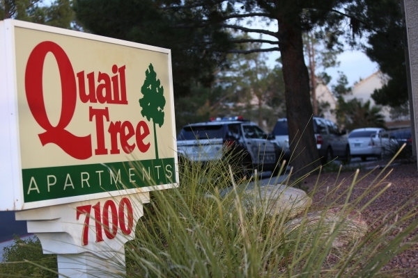 Quail Tree Apartments, where police are investigating the shooting death of a man whose body was found in the complex, is seen on Thursday, Dec. 10, 2015 in Las Vegas. Brett Le Blanc/Las Vegas Rev ...