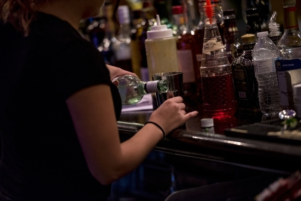 A bartender makes a cocktail at Curry Leaf in Las Vegas on Saturday, Dec. 12, 2015. Joshua Dahl/Las Vegas Review-Journal
