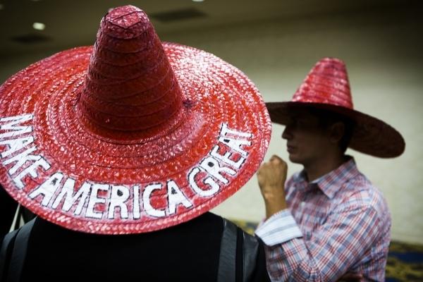 Fenton Peterken, left, and Joe Damas wear sombreros at rally for Republican presidential candidate Donald Trump at  Westgate Las Vegas Resort & Casino on Monday, Dec. 14, 2015. Jeff Scheid/Las ...