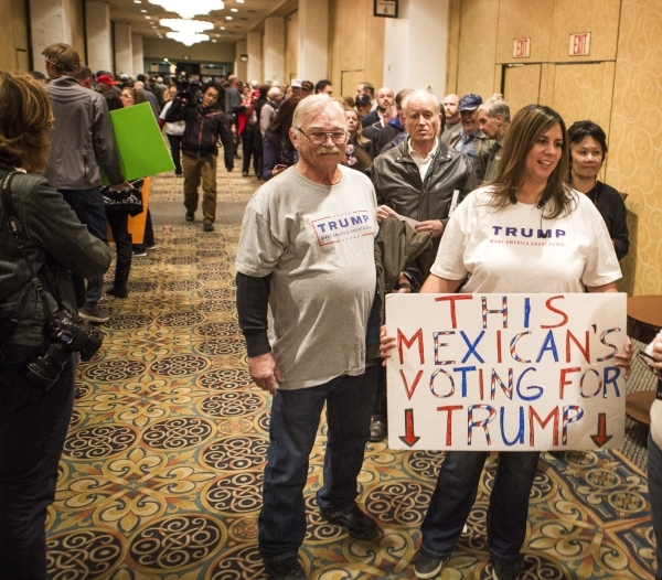 Robert Crooks and his wife April stand in line during a Donald Trump rally at  Westgate Las Vegas Resort & Casino on Monday, Dec. 14, 2015. Jeff Scheid/ Las Vegas Review-Journal Follow @jlscheid
