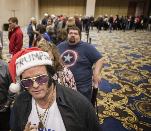 Elvis impersonator Paige Poole stands in line during a Donald Trump rally at  Westgate Las Vegas Resort & Casino on Monday, Dec. 14, 2015. Jeff Scheid/ Las Vegas Review-Journal Follow @jlscheid