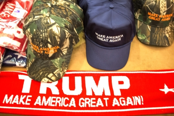 Merchandise is offered for sale during a Donald Trump rally at  Westgate Las Vegas Resort & Casino on Monday, Dec. 14, 2015. Jeff Scheid/Las Vegas Review-Journal Follow @jlscheid