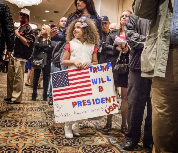 Jayliana Glothon, 7, waits in line during a Donald Trump rally at  Westgate Las Vegas Resort & Casino on Monday, Dec. 14, 2015. Jeff Scheid/Las Vegas Review-Journal Follow @jlscheid