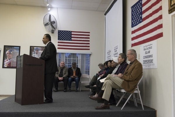 Dr. Syed Rahman speaks at Jamia Masjid Mosque during an interfaith prayer vigil to remember the victims and the family of the Dec. 2 mass shooting in San Bernardino, California in Las Vegas Sunday ...