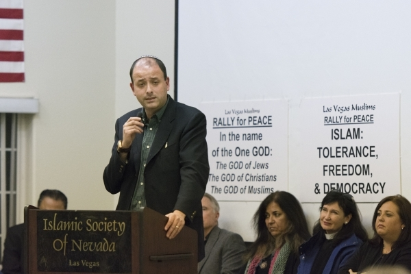 Rabbi Malcolm Cohen speaks at Jamia Masjid Mosque during an interfaith prayer vigil to remember the victims and the family of the Dec. 2 mass shooting in San Bernardino, California in Las Vegas Su ...