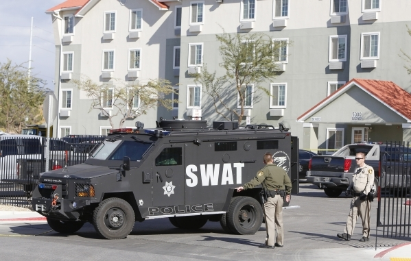 Metro SWAT unit is on scene of a barricade situation near the intersection of Craig Road and Nellis Boulevard on Monday, Dec. 14, 2015. Bizuayehu Tesfaye/Las Vegas Review-Journal Follow @bizutesfaye
