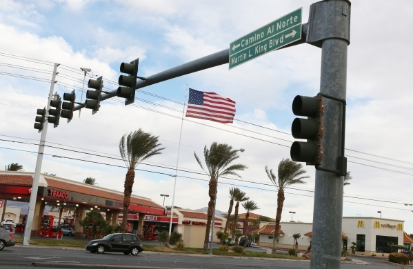 The intersection of Martin Luther King Boulevard and Craig Road is shown on Monday, Dec. 14, 2015 where a woman was slain on a parking lot late Sunday night and a man accused in the shooting was a ...