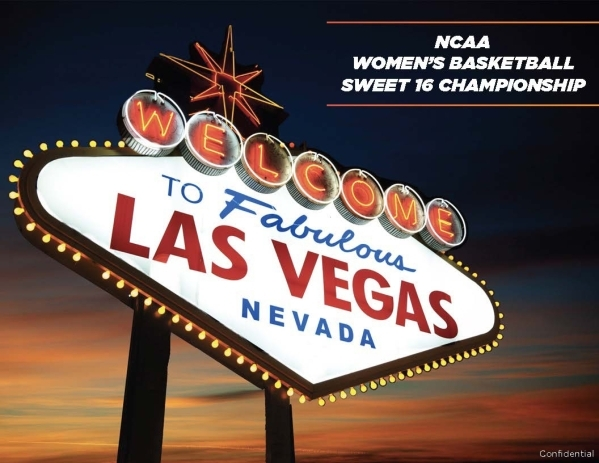 A photograph of the iconic Welcome to Fabulous Las Vegas sign is on the cover of a document that describes using Las Vegas as the site of the NCAA Women's Basketball Sweet 16 Championship.
