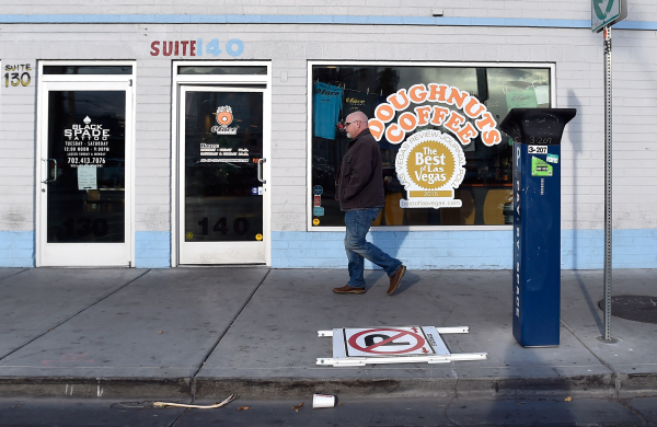 A man walks by the O Face Doughnut shop in Downtown Las Vegas on Monday, Dec. 14, 2015.  The store, backed by the Downtown Project, is set to close later this month. David Becker/Las Vegas Review- ...