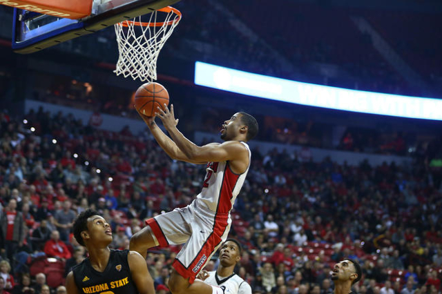 UNLV guard Jerome Seagears (2) goes for a layup against Arizona State during a basketball game at the Thomas & Mack Center in Las Vegas on Wednesday, Dec. 16, 2015. Chase Stevens/Las Vegas Rev ...