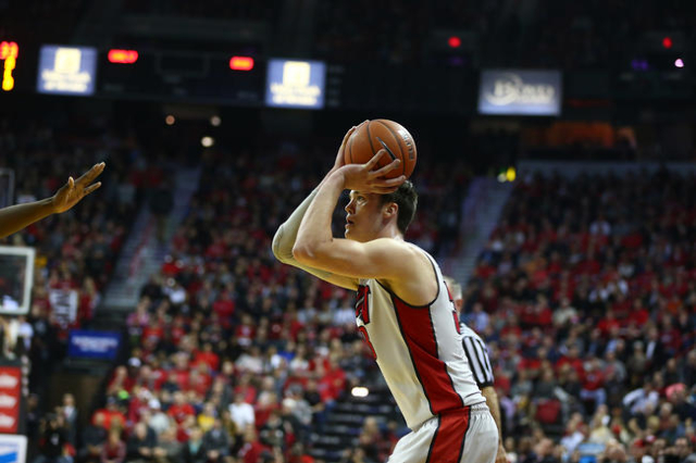 UNLV forward Stephen Zimmerman Jr. (33) looks to shoot against Arizona State during a basketball game at the Thomas & Mack Center in Las Vegas on Wednesday, Dec. 16, 2015. Chase Stevens/Las Ve ...