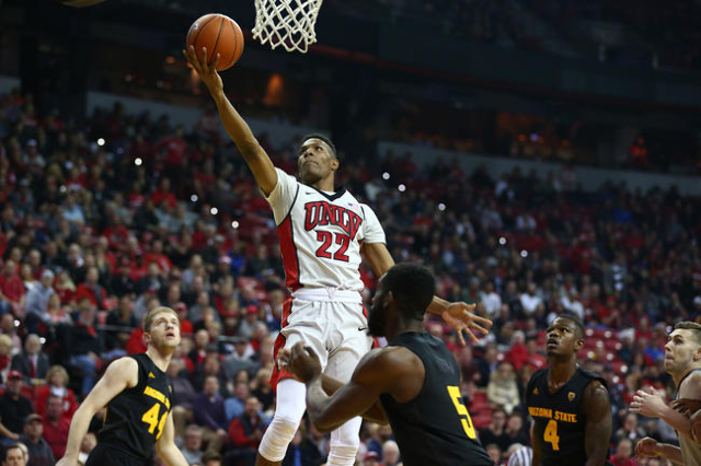 UNLV guard Patrick McCaw (22) jumps for a layup against Arizona State during a basketball game at the Thomas & Mack Center in Las Vegas on Wednesday, Dec. 16, 2015. Chase Stevens/Las Vegas Rev ...