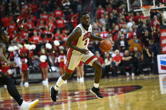 UNLV guard Jordan Cornish (3) drives the ball against Arizona State during a basketball game at the Thomas & Mack Center in Las Vegas on Wednesday, Dec. 16, 2015. Chase Stevens/Las Vegas Revie ...
