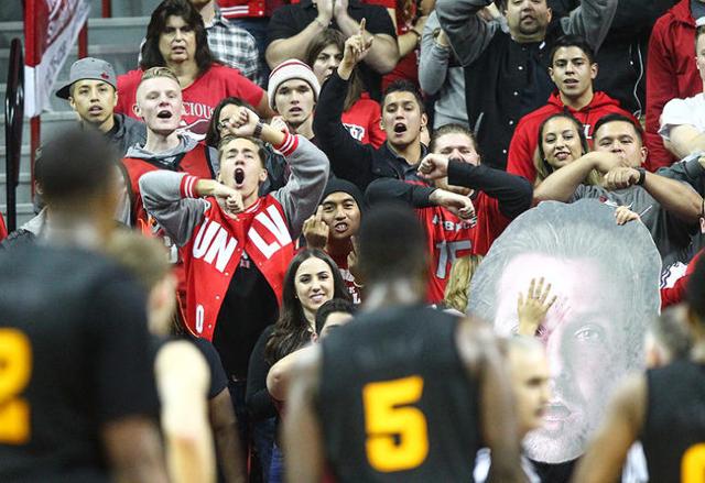 UNLV fans react as the basketball team plays Arizona State at the Thomas & Mack Center in Las Vegas on Wednesday, Dec. 16, 2015. Arizona State won 66-56 over UNLV. Chase Stevens/Las Vegas Revi ...