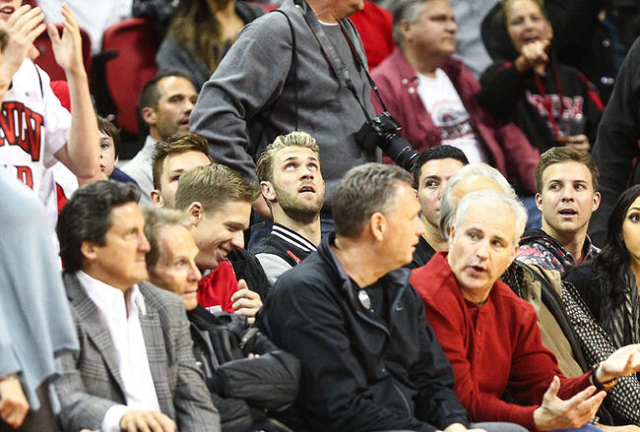 Bryce Harper, center, reacts as UNLV plays Arizona State during a basketball game at the Thomas & Mack Center in Las Vegas on Wednesday, Dec. 16, 2015. Arizona State won 66-56 over UNLV. Chase ...
