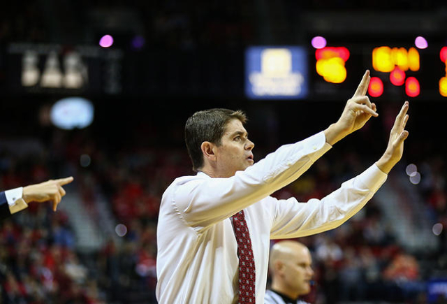 UNLV head coach Dave Rice reacts as the team plays against Arizona State during a basketball game at the Thomas & Mack Center in Las Vegas on Wednesday, Dec. 16, 2015. Arizona State won 66-56  ...